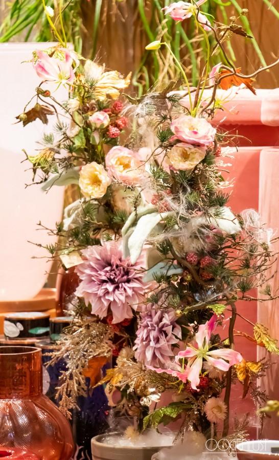 Kerststuk roze