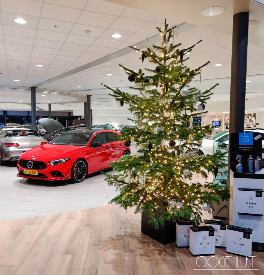 Kerstboom auto rood